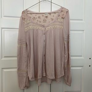 Free People Purple Floral Laced Long Sleeve Top